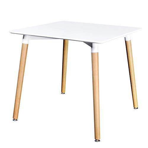 EBTOOLS Weiß Esstisch Esszimmertisch Küchentisch Quadratisch Tisch Schreibtisch Konferenztisch Computertisch Arbeitstisch Bürotisch mit Beine für Wohnzimmer Büro Küche, 80 x 80 x 73-75 cm