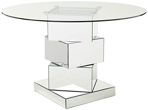 "Meridian Furniture Haven Collection Modern Contemporary Mirrored Dining Table with Round Tempred Glass Top, 50"" W x 50"" D x 31.5"" H"