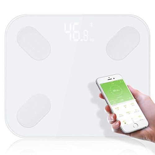 FASSTUREF Escala de Grasa Corporal Bluetooth 14 Tipos de análisis de Datos corporales Pantalla LED Balance de baño Básculas electrónicas de Grasa Corporal APLICACIÓN Bluetooth Android o iOS,Blanco