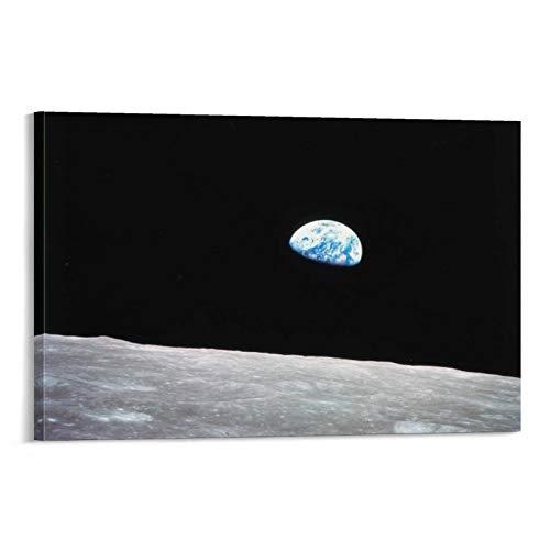 XIONGJIE Apollo 8 Erdaufgang vom Mond Poster, dekoratives Gemälde, Leinwand, Wandkunst, Wohnzimmer, Poster, Schlafzimmer, Gemälde, 40 x 60 cm