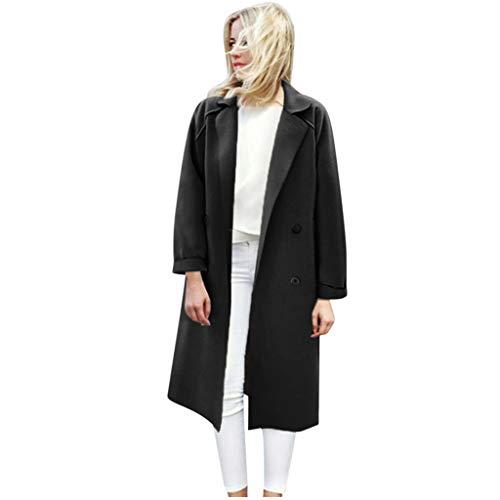 HuaCat Frauen Langarm Mantel Jacke Lang Trenchcoat Casual Winter Übergangsjacke Damenjacke Long Blazer Faux Wollmantel Parka Coat Outwear