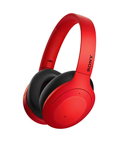 Sony Wh-H910 Wireless Noise Cancelling Headphones, 35 Hours Battery Life with Quick Charge, Hi-Res Audio, Touch Control, Compatible with Alexa - Red
