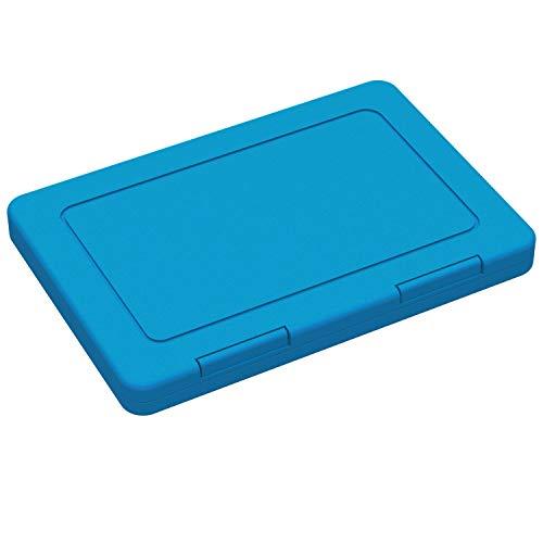 Flache Aufbewahrungsbox aus Kunststoff 100% Recyclebar ANTIBAKTERIELL kleine Aufbewahrungsdose mit Deckel Ideale Transportbox für Mundschutz Masken Box zur Aufbewahrung (Antibakteriell)