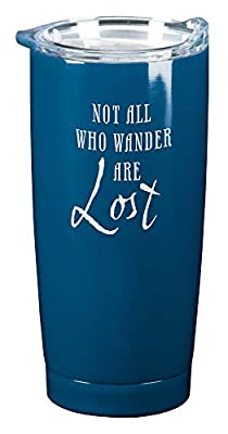 Not All Who Wander Navy Blue 20 ounce Stainless Steel Metal Travel Tumbler