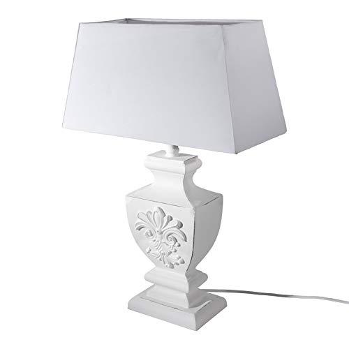 DRULINE 53 cm Antiker Tischlampe Lampe Nachttischleuchte Lampenfuß Holz mit Schirm Tischleuchte Klassische Dekoration fürs Schlafzimmer Wohnzimmer Esszimmer Shabby Weiß [Energieklasse A++]