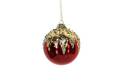 Gisela Graham Red & Gold Crush Palla di Natale (8 cm)