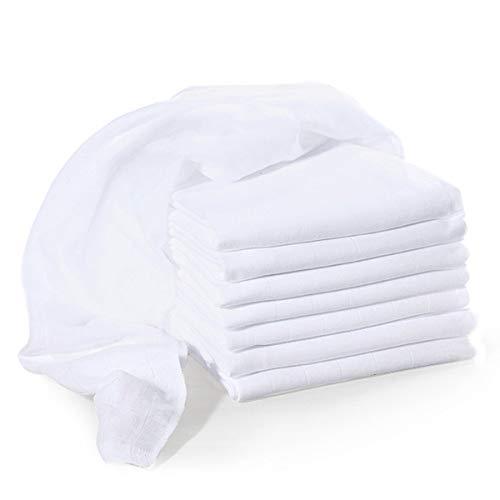 Bornino Le lot de 8 langes 80 x 80 cm couche en tissu, blanc