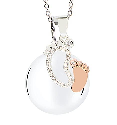 MAMIJUX® Chiama Angeli avec pendentif avec deux pieds or argent et chaîne en acier, longueur 110...