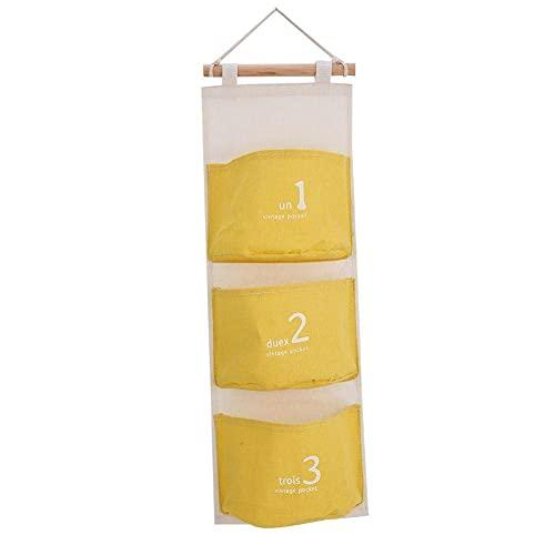 HERCHR 3 Bolsillos sobre el Organizador para Colgar en la Pared de la Puerta, Bolsa de Almacenamiento Impermeable de Lino y algodón para el baño del Dormitorio del Armario, 58cm x 20cm(Amarillo)