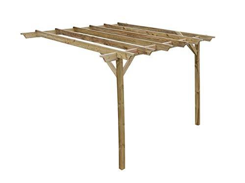 Wooden Garden Lean-to Pergola Kit - Champion Design Shade Canopy Gazebo (3m x 3m, Natural (light green))