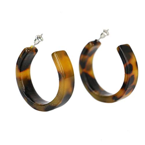 WEFOO Acrylic Tortoise Shell Earrings Resin Marbled Earring Leopard Round Hoop Earrings-Black and Yellow for Women Fashion Jewelry
