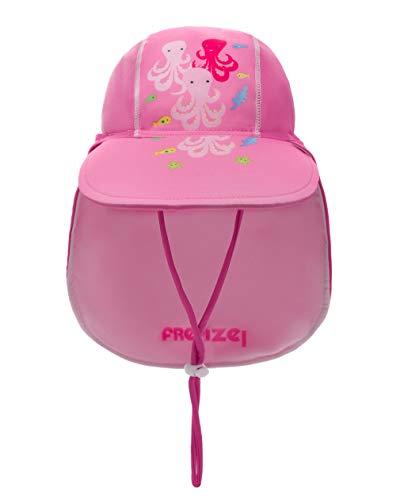 Foruhoo Baby Mütze UV-Schutz 50 mit Kordelzug for Jungen, Breite Krempe Sommerhut Sonnenhut (51cm / 18-36 Monate, Krake Pink)
