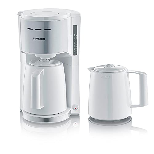 SEVERIN Filterkaffeemaschine mit 2 Thermokannen, Kaffeemaschine für bis zu 8 Tassen je Kanne, Filtermaschine mit 2 Isolierkannen, weiß/Edelstahl gebürstet, KA 9257