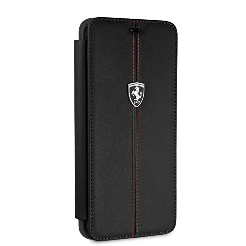Ferrari Wallet Case for Samsung Galaxy S9 Plus Hard Case Genuine Leather with Business Card Holder/Debit or Credit Card Slots Easy Snap-on Shock Absorption Cover Officially Licensed. (Black)