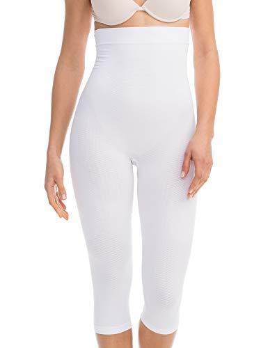 Farmacell 323 (Blanc, L/XL) Corsaire Massant Gainant Anti-Cellulite en Microfibre Effet Push Up Fesses pour Femme