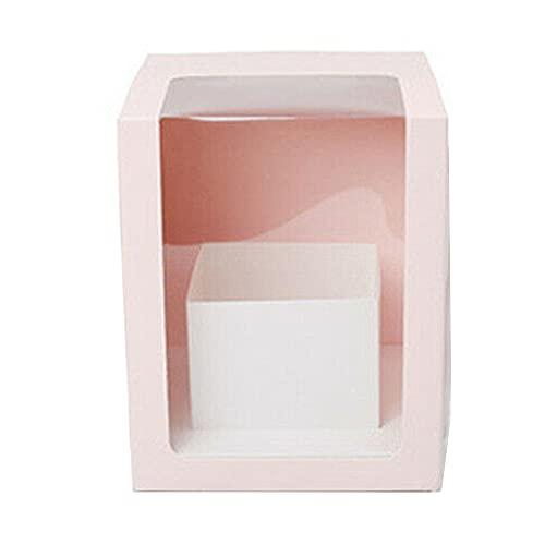 Scatole regalo fiore Merssavo, scatola regalo gioielli rosa rossa, imballaggio fiore trasparente con maniglia finestra trasparente scatola di carta a forma quadrata - rosa