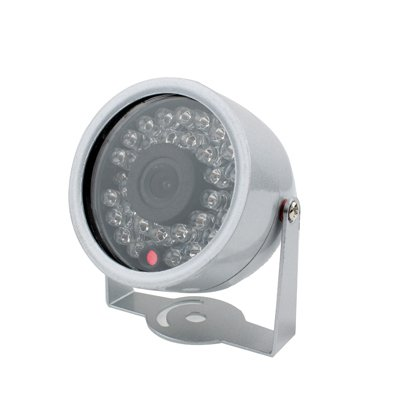 Nologo Kamera 1/3 CMOS Farbe 380TVL 30 LED Mini wasserdichte Kamera (Silber)