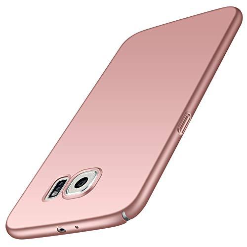 Avalri Funda para Samsung Galaxy S6, Diseño Minimalista Estuche Rígido Ultra Delgado de PC a Prueba de Golpes Resistente a Rasguños Cover para Samsung Galaxy S6 (Oro Rosa Liso)
