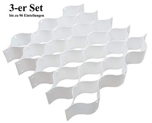 Space Maxx 3-er Set Praktische Schubladen Organizer I Schubladeneinsatz Kunststoff Stecksystem I Ordnungssystem Schubkasten Einteiler Schubladentrenner Fachteiler Schubladeneinteilung