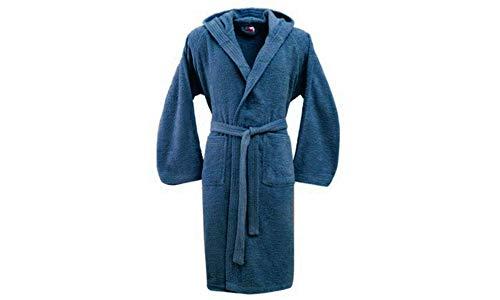 Bassetti Albornoz hombre mujer con capucha talla S – M – L – XL – XXL – 3XL – 4XL – 5XL – rizo de puro algodón 360 g/m² INDIGO XL