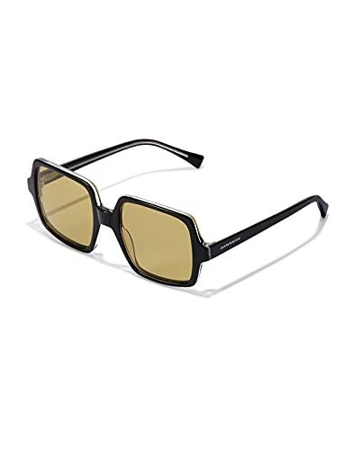 HAWKERS Claudia-Black Matcha Gafas de Sol, Negro/Amarillo, One Size Unisex Adulto