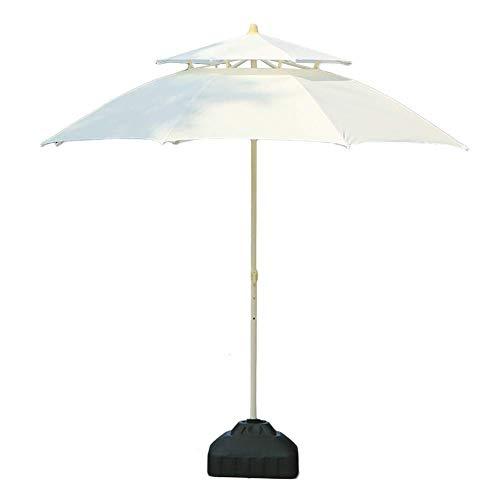 DFBGL Sombrilla de Patio con Doble Techo de 7.5 pies / 9 pies, Parasol para Exteriores para Playa/Piscina/Paraguas de jardín Protector Solar Redondo, Paraguas de Mercado Resistente a