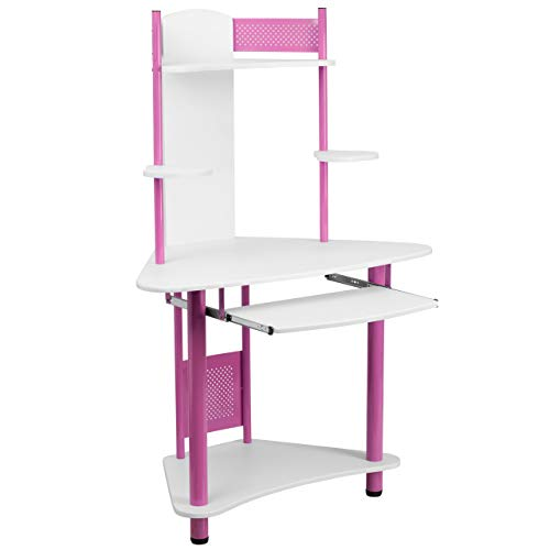 Flash Furniture Pink Corner Computer Desk with Hutch