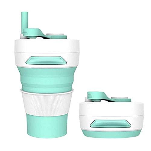 Adesign Taza de café Plegable - Taza Plegable de Silicona/Taza Botella de Deporte con Tapas - Taza de Viaje Plegable y portátil y Ligera para el alojamiento Que acampa Caminando