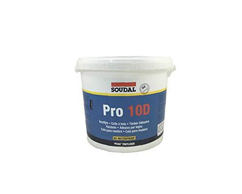 Soudal Holzleim PRO 10 D, nicht gefüllter Dispersionskleber auf PVAc-Basis, weiss, Kanne: 5kg