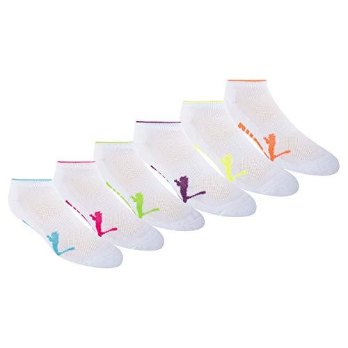 Puma Women's Half Terry Runner Socks 6-Pack, White Bright, 9-11