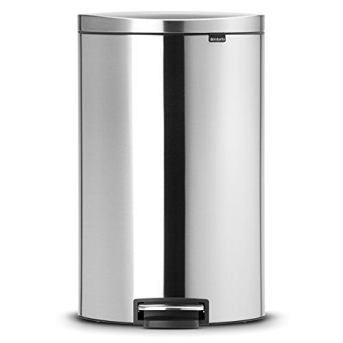 Brabantia 482021 - Cubo de Basura, Flatback, 40 litros, Ahorra Espacio, Cubo Interior de plástico extraíble, Acero Mate Anti-Huellas