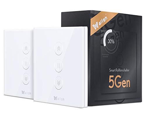 【5th Gen】WiFi Interruptor Persiana, Waligh WiFi Interruptor de Persiana Interruptor Persiana Wifi Compatible con Alexa y Google Home, Control de porcentaje, Control por APP o Voz, 2 Piezas