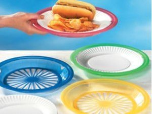 "1 Dozen of Reusable Plastic Holders for 9"" Paper Plates Bright Colors"