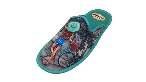 Zapatillas de Estar por casa/Mujer/Niña/Biorelax/Puntera Cerrada/Empeine: Lona/Suela: Goma/Talón Acolchado/Talla 38