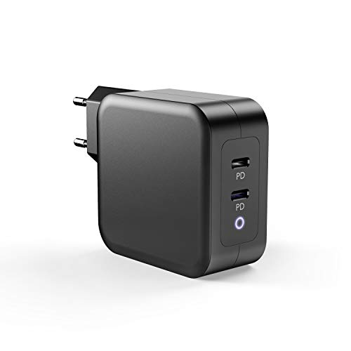 SPLAKS GaN Tech Power Delivery USB C Charger 100 W 2-Port Type C for MacBook Pro/Air, iPad Pro/Air, iPhone 12/12 Pro/12 Mini/11/11 Pro/XR/XS Max, Nintendo Switch, PD-Charged Devices Black