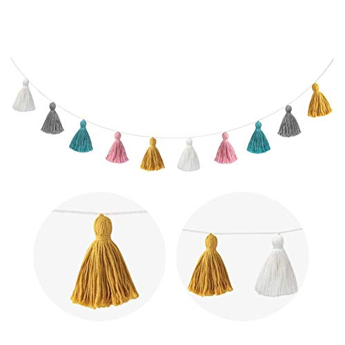 44in Tassel Garland Decor, Cotton Tassel Garland Colorful Tassel Banner Decoration, Sweet and Elegant Colorful Party Banner for Wedding Birthday Baby Shower Party Supplies