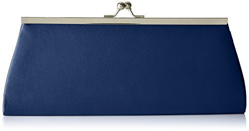 Berydale Damen Satin Handtasche, Clutch Schultertasche mit Zusatzkette und Metallbügel mit Schnappverschluss, Dunkelblau