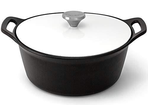HearthStone Cookware Cocotte Pearl en fonte émaillée, blanc, 26 cm, 5,2 l, pour toutes les surfaces, y compris l'induction et le four.