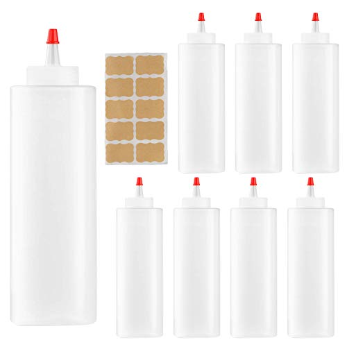 Squeeze Bottle,Woaiwo-q 16oz Plastic Squeeze Condiment Bottles with Red Tip Caps and labels(8 pack.16oz)