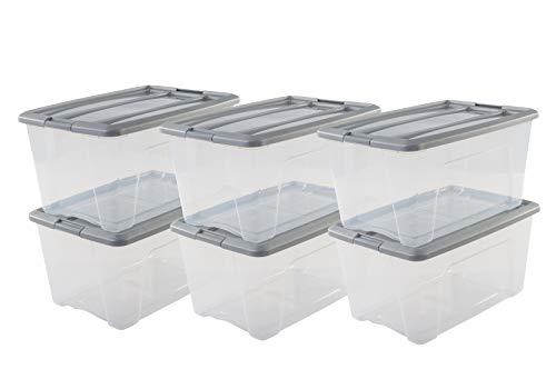 Iris Ohyama NTB- 45 X6 Silver -  lote de 6 cajas apilables de almacenamiento,  Gris,  45 L