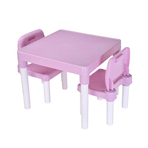 Kids Table and 2 Chairs Set | Childrens Toddler 2-in-1 Plastic Activity Tables Sets Best for Toddlers Lego, Reading, Art Play-Room (1 x Table+2xChairs, Pink)