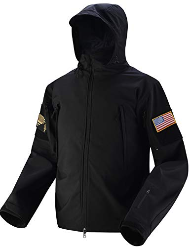 HARD LAND Tactical Jacket Men Softshell Waterproof Hooded Fleece Lined Coat Military Airsoft with Velcro Patches Black Size L