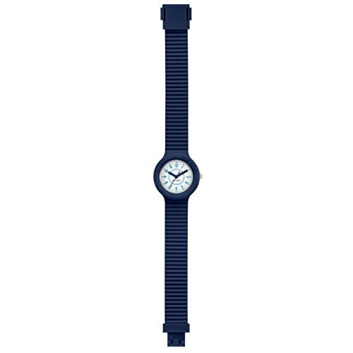 HIP HOP Unisex NUMBERS COLLECTION WATCH Collection MONO-COLOUR WHITE dial 3 Hands QUARTZ movement and SILICON BLUE STRAP HWU0634