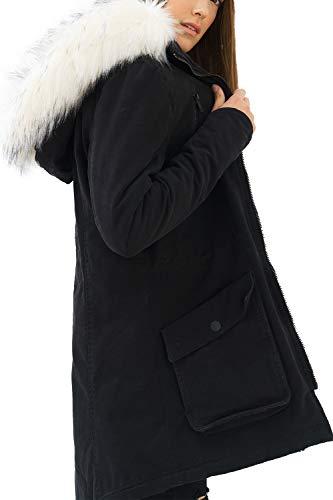 trueprodigy Casual Damen Marken Parka mit Kunstfell, Damenjacke cool und stylisch mit Kapuze (sportlich & Slim Fit), Jacke für Frauen in Farbe: Schwarz 3573506-2999-S