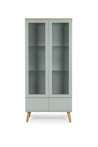 Tenzo 1670-676 Dot Designer Vitrine Holz, pastellgrün / eiche, 43 x 79 x 178,5 cm
