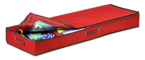 Honey-Can-Do SFT-01598 Wrapping Paper and Bow Storage Organizer, Holiday Red by Honey-Can-Do