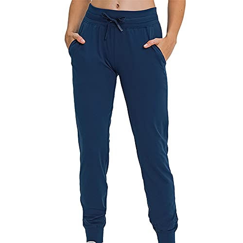 PRJN Women's Drawstring Sweatpants Elastic Waistband Workout Trousers Jogging Pants with Pockets Women's Sweatpants Workout Athletic Jogger Pants Tracksuit Bottoms for Women Sports Training Running
