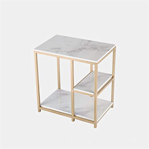 Tavolino da salotto in camera da letto, multistrato in marmo impiallacciato, tavolino da caffè per ufficio, guardaroba, salotto, caffetteria, divano e libri., metallo, D, 60*40*65CM