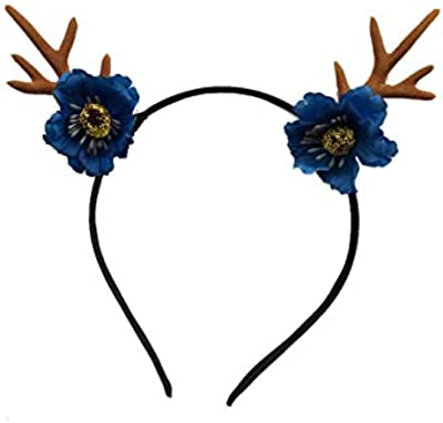 Wetietir Flowers Bouquet Antlers Flower Christmas Hairband Headband Christmas Party Costume Accessory(Blue) Bridal