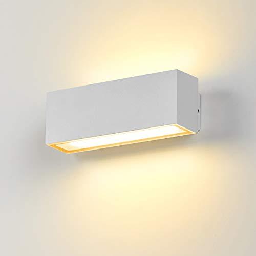 Dr.lazy Apliques de Pared Exterior LED 12W Lámpara de Pared Impermeable IP65 Luz de Aluminio Iluminación para Balcón, Jardín, Porche, Camino, Patio (Blanco-3000K)